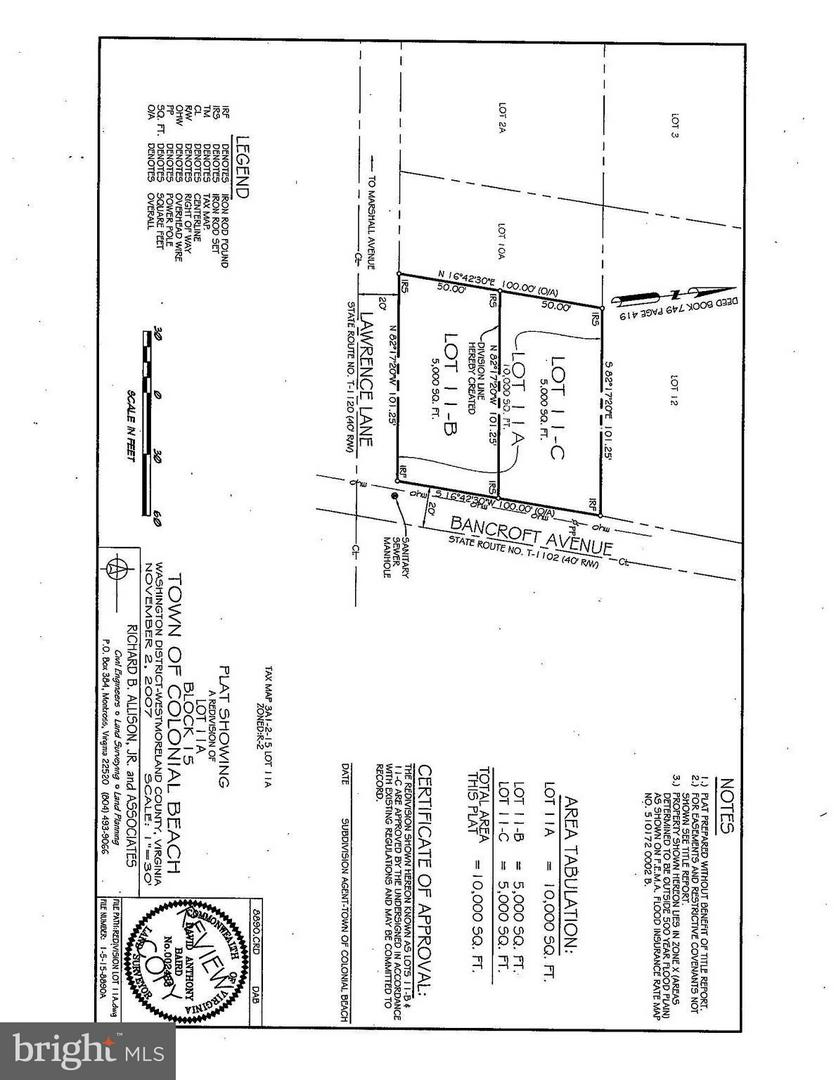 1229  Bancroft Lot 11-C,  Colonial Beach, VA