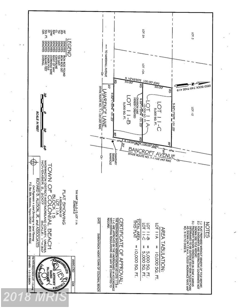 1229  Bancroft Lot 11-C,  Colonial Beach, VA